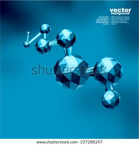 Molecular structure of many triangles (polygonal style)  - stock vector