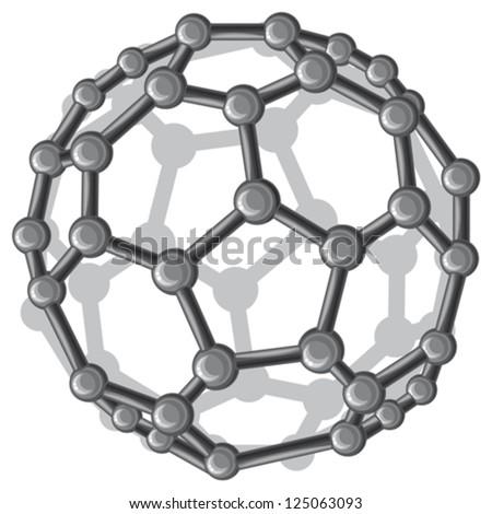 molecular structure of the  C60 buckyball (nanostructure fullerene C60 sticks molecular model) - stock vector