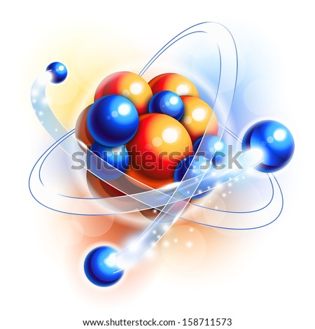 Molecule, atoms and particles in motion - stock vector