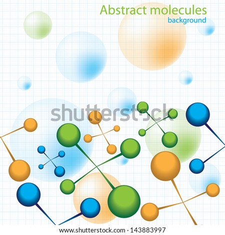 Molecule colorful vector grid background - stock vector