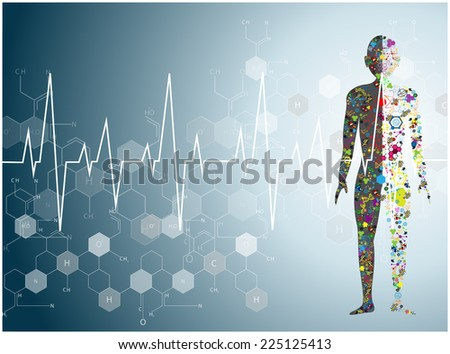 molecule heart Healthcare and Medical background - stock vector