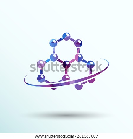 Molecule icon atom chemistry vector symbol element. - stock vector