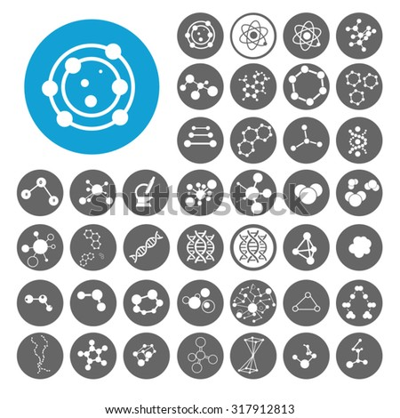 Molecule icons set. Illustration EPS10 - stock vector
