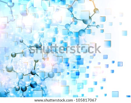 molecule illustration over abstract cubes background - stock vector