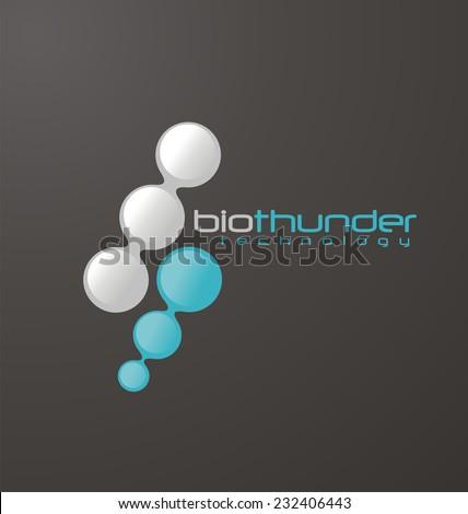 Molecule nano technology vector template with thunder power shape. Unique logo design concept for hi tech company. Creative innovation business  icon.  - stock vector