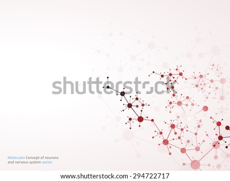 Molecules atom dna Concept of neurons and nervous system vector - stock vector