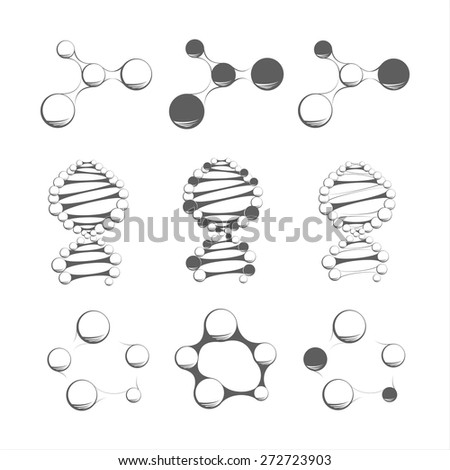 Molecules on the white background - stock vector