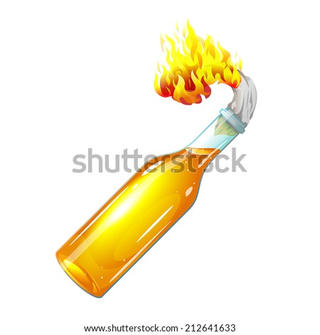 Molotov cocktail with burning rag, eps10 illustration make transparent objects - stock vector