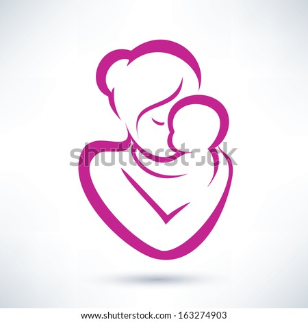 mom and baby vector icon - stock vector