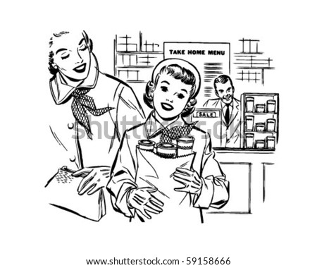 Mom And Daughter Shopping - Retro Clip Art - stock vector