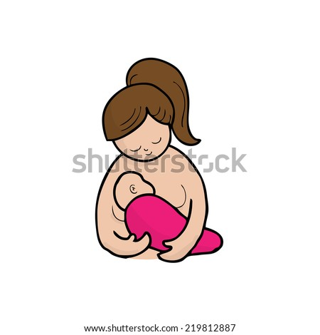 Mom breast feeding baby cartoon vector - stock vector