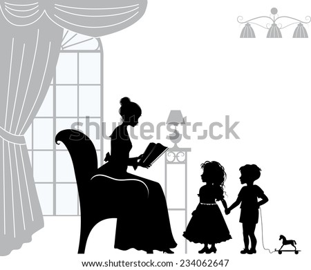 Mom reading book for children, retro silhouettes - stock vector