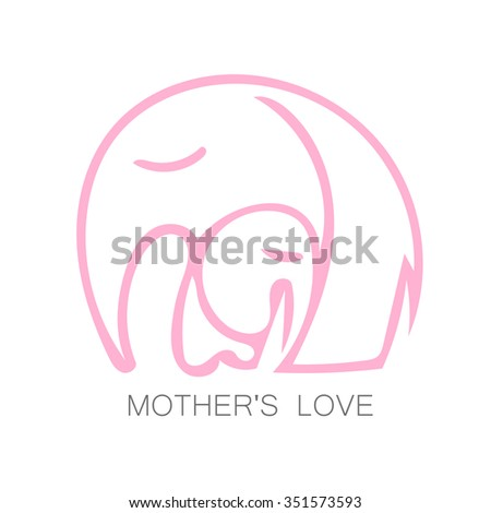 Mom's love - logo design. Vector illustration. Mother elephant hugging his baby. The idea for the sign for the kindergarten, school, club, baby products and others. - stock vector