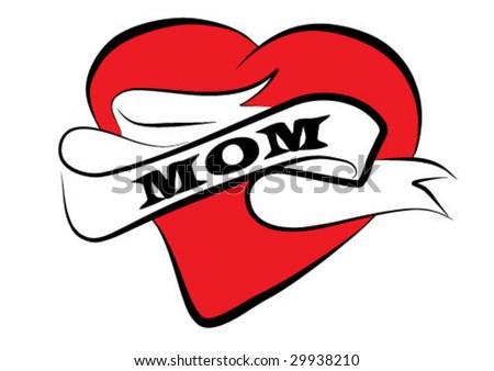 mom tattoo vector clip-art background - stock vector
