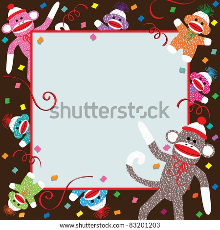 Momma, Daddy and colorful baby sock monkeys celebrate a  Birthday party - stock vector