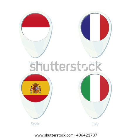 Monaco, France, Spain, Italy flag location map pin icon. Monaco Flag, France Flag, Spain Flag, Italy Flag. Vector Illustration. - stock vector