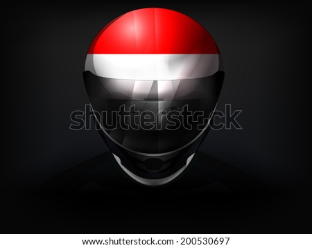 Monaco racer with flag on helmet vector closeup illustration - stock vector
