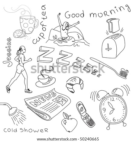 monday morning doodles - stock vector