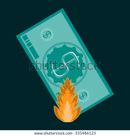 Monetary banknote, the dollar is on fire. Inflation, loss of profit, loss, high production costs - stock vector