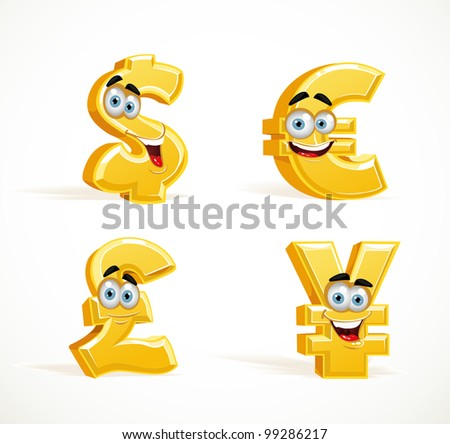 Monetary signs smiling smiles - dollar, pound, euro and yen - stock vector