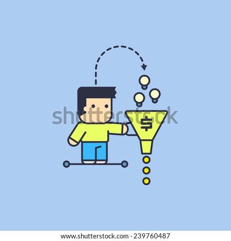 monetization of their own ideas. Conceptual illustration. - stock vector