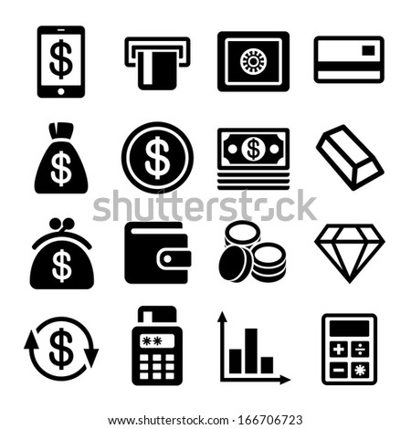Money and bank icon set - stock vector