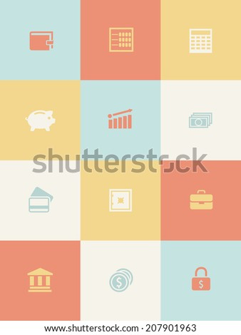 Money and business icons set. Vector eps10 illustration - stock vector