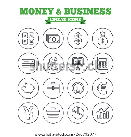 Money and business linear icons set. Cash and cashless money. Usd, eur, gbp and jpy currency exchange. Presentation, calculator and shopping cart symbols. Thin outline signs. Flat vector - stock vector