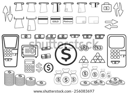 Money and coin icon set - stock vector