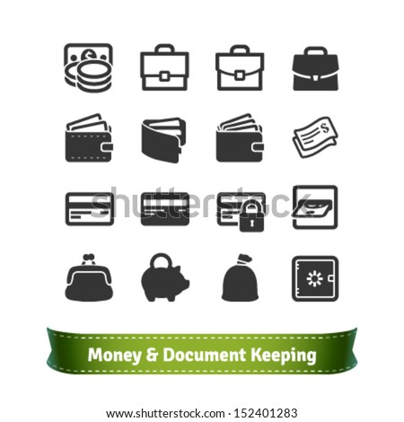 Money and Document Keeping Icons for E-commerce and Business - stock vector