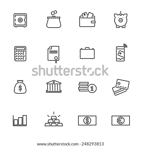 Money and Finance Line Icons Collection. Set of 16 money and finance related black line icons. - stock vector
