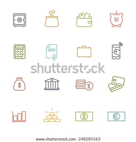 Money and Finance Line Icons Collection. Set of 16 money and finance related colored line icons - stock vector