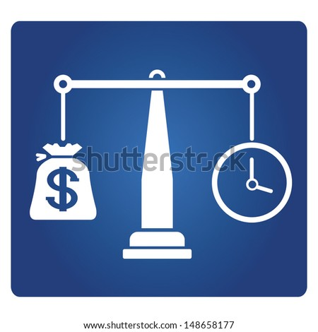 money and time balance, money and time management sign - stock vector
