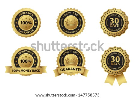 money back guarantee gold badge label - stock vector