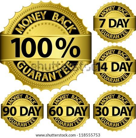 Money back guarantee golden set, vector illustration - stock vector
