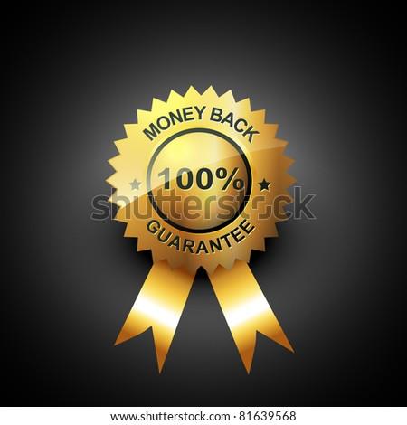 money back guarantee vector golden label - stock vector