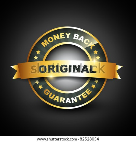 money back guarantee vector golden label - stock vector