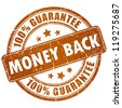 Money back vector stamp - stock vector