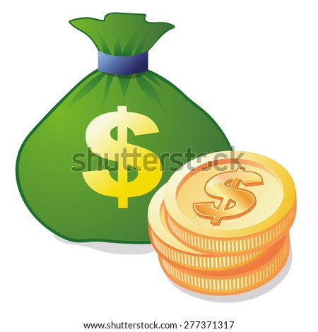 Money bag and coins  icon - stock vector