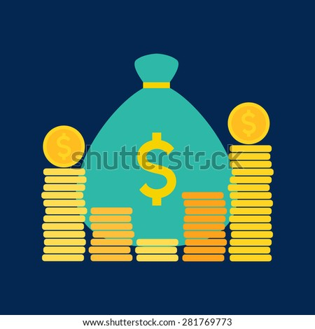 Money bag and coins. Vector illustration - stock vector