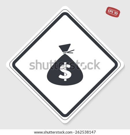Money bag icon. Flat design style. Made vector illustration. Emblem or label with shadow. - stock vector