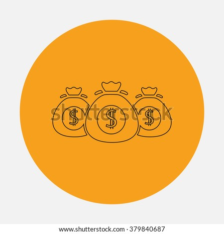 Money bag icon Outline vector icon on orange circle. Flat line symbol pictogram  - stock vector