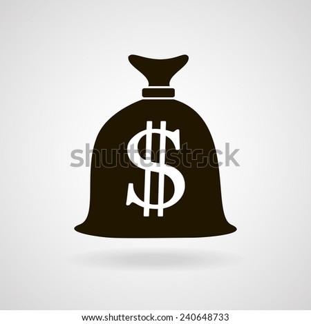 Money bag icon silhouette. vector illustration - stock vector