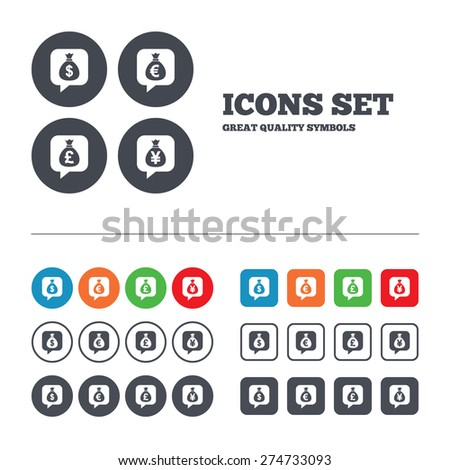 Money bag icons. Dollar, Euro, Pound and Yen speech bubbles symbols. USD, EUR, GBP and JPY currency signs. Web buttons set. Circles and squares templates. Vector - stock vector