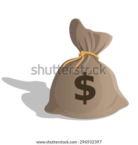 Money bag or sack cartoon style icon with dollar sign isolated on white background. Vector illustration - stock vector