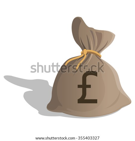 Money bag or sack cartoon style icon with Pound Sterling sign isolated on white background. Great Britain Currency symbol. Vector illustration - stock vector