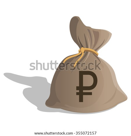 Money bag or sack cartoon style icon with Ruble sign isolated on white background. Russian Currency symbol. Vector illustration - stock vector