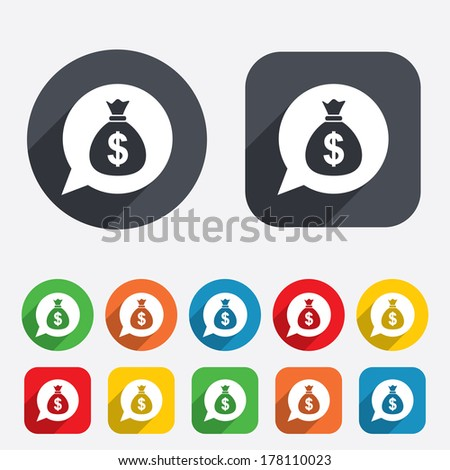 Money bag sign icon. Dollar USD currency speech bubble symbol. Circles and rounded squares 12 buttons. Vector - stock vector