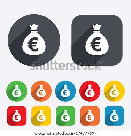 Money bag sign icon. Euro EUR currency symbol. Circles and rounded squares 12 buttons. Vector - stock vector