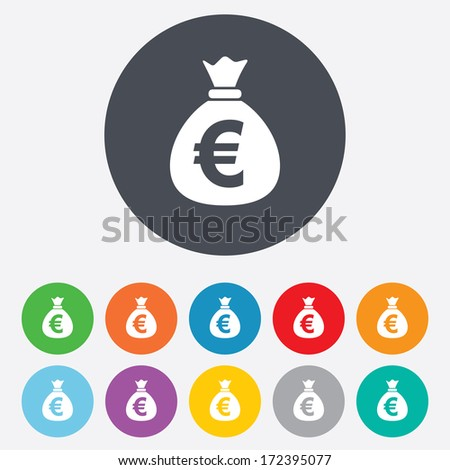 Money bag sign icon. Euro EUR currency symbol. Round colourful 11 buttons. Vector - stock vector
